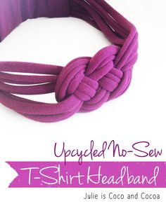 DIY Upcycled No-Sew Knotted T-Shirt Headband idea