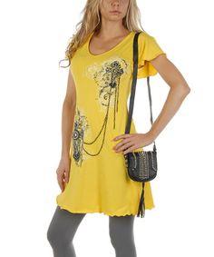 Look at this #zulilyfind! Yellow Chains of Love T-Shirt Dress - Women & Plus by Liberty Wear #zulilyfinds