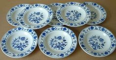 "(8) Rimmed Soup Bowls SHENANGO CHINA New Castle, PA   ""Blue Onion"" #ShenangoChina  reasonable shipping"