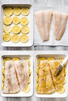 Cod Fish Recipes, Seafood Recipes, Healthy White Fish Recipes, Salmon Recipes, Healthy Recipes, Lingcod Recipe, Lemon Fish, Lemon Garlic Butter Sauce, Oven Baked Fish