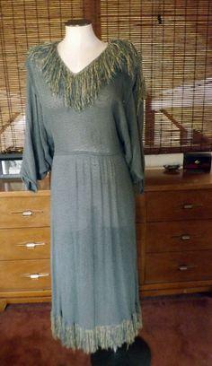 Vintage 70s80s Slate Fringed Light Sweater Dolman by Calliopegirl, $38.00