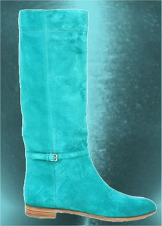Turquoise Knee High Suede Flat Boots                                                                                                                                                                                 More