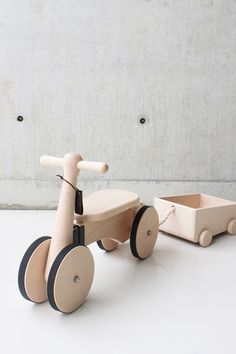 wooden childrens bike and trailer