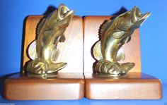 Vintage Pair Brass Fish Bookends Mounted on Wood Cornwall Wood Products USA #CornwallWoodProducts