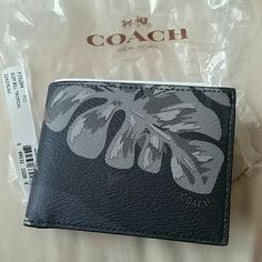 NWT COACH MEN'S BIFOLD TROPICAL PALM WALLET New with tags! Perfect father's day gift! Coach tropical palm bifold wallet. Limited edition.  Pebbled leather.  24hr sale!  This will not be available after 5/30! Coach Bags Wallets Coach Men, Coach Bags, Coach Wallet, Pebbled Leather, Fathers Day Gifts, Wallets, Palm, Satchel, Buy And Sell