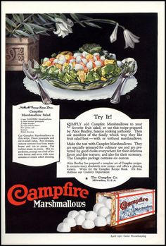 1921 Ad for Campfire Marshmallow~ Marshmallow Salad Recipe