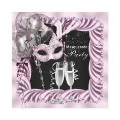 Black Pink Champagne Masquerade Party Custom Invites