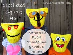 Crocheted Square Hat - Instructable Robot, Sponge Bob & WALL-E