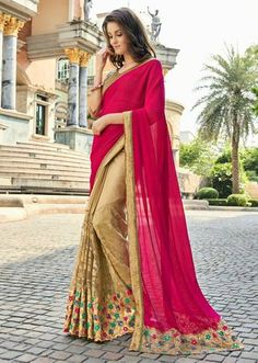 IVimal Beige Colored Embroidered Chiffon Dupian Net Festival Saree - 97066