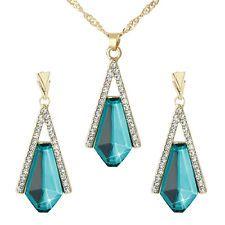Unique Jewelry - Unique Acid Blue Crystal Pendant Elegant Nacklace Earrings Lady Jewelry Set new