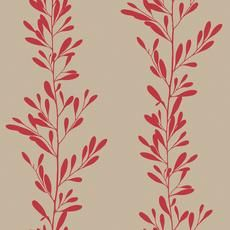 Red and Taupe Graphic Red Leaf Stripe Wallpaper