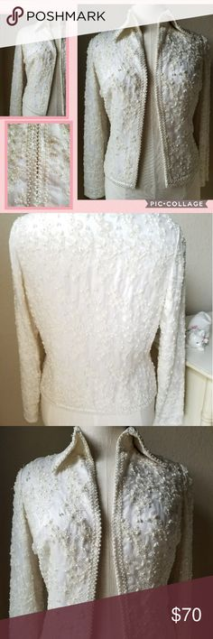 Vintage100% silk beaded stunning  jacket This is a beautifully made Silk magnificent item  One of a kind  EXCELLENT CONDITION! SZ.14 VINTAGE sizing Jackets & Coats