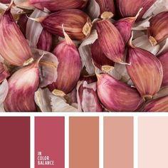 garlic hues: garnet, rose, peach, beige and palest pink