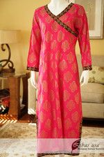 Pink and brown block print kurta $55.00 super soft fabric and easy to iron... its a winner!