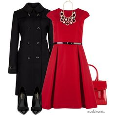 Beautiful red dress with a flare skirt and slim black belt. Great pairing with a black trench and red purse.