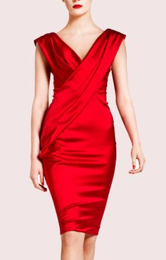 Donna Karan - bright warm red. Satin weave provides light reflection - more interesting on Pure Springs than matte fabric.