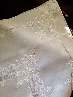 Купить Английская вышивка. Чайная скатерть и 4 салфетки - белый, скатерть, скатерть ручной работы