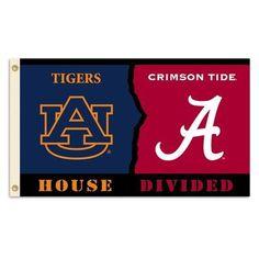 BSI Products NCAA Rivalry House Divided Traditional Flag NCAA Team: Alabama vs. Auburn