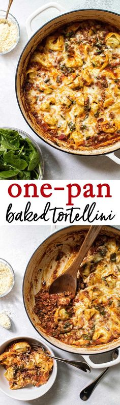 30-minute, one-pan baked tortellini. A super easy pasta recipe for busy weeknight dinners. #pasta #onepan
