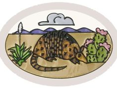 """Armadillo, O-022 Art Glass by Silver Creek. $23.95. Armadillo in the wild. Created on 3/16"""" thick O-size beveled glass using brilliantly colored crystalline, frosted and translucent lacquers, this hand-painted oval-shaped suncatcher measures 6"""" high by 9"""" wide. Comes with cord for hanging."""