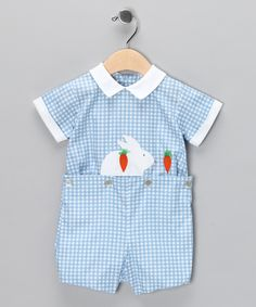 Blue Gingham Bunny Romper - Infant & Toddler