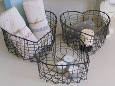 Heart Shaped Wire Storage Baskets by the chic country home | notonthehighstreet.com