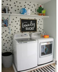 This is the time of the year that I like to scroll through and check out all the crap I accomplished in 2016. (And sometimes it was just CRAP!) but one of my favorite things this year brought was my laundry room makeover! I was settling with my taupey wall color and kept telling myself it was fine-- but once I got this room done and realized how happy it made me and how bright it was-- well- nothing is safe anymore!!! Paint is in the forecast for 2017!!! (Sorry Karl!)