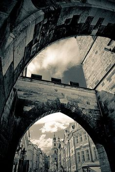 One of the towers at the entrance of the Charles Bridge. Prague, Czech Republic