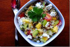 "Is it just me, or is quinoa ""in"" right now? Kiwi Mango Quinoa Salad + Easy kiwi peeling trick."