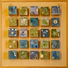 Block collages: Details at the link. Restricted color palette, but each child was allowed a lot of artistic freedom with their individual block. The blocks are cut from a 4x4 @ different heights and mounted on a piece of clear birch plywood.
