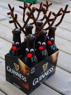 Handmade Christmas Gift. Bottled drinks dressed as reindeer.