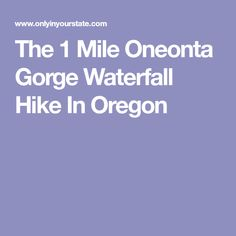 The 1 Mile Oneonta Gorge Waterfall Hike In Oregon