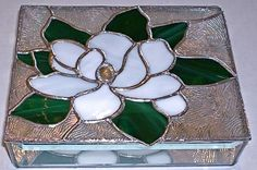 STAINED GLASS Jewelry BOX Magnolia by glassmagic on Etsy, $65.00