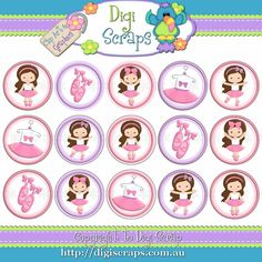 Ballerina Girls Ballet - Dancing digital bottlecap image bottle cap graphics 1""