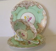 Shelley Gold Scroll Pale Green Floral Gainsborough Tea Cup Saucer Plate Trio by vicky