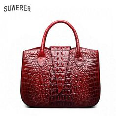 dfd2241864cc SUWERER 2018 New women Genuine Leather bags Fashion luxury Crocodile  pattern women bags designer women leather handbags. Ghasideh Ameri · bag