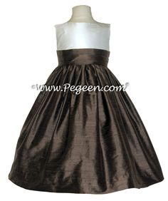 New Ivory and chocolate brown Flower Girl Dresses by Pegeen.com
