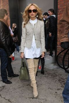 Only a very few could pull off this look...Those boots are to die for. Rachel Zoe is a fashion icon!