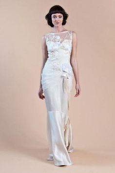 Willow by Claire Pettibone - Silk charmeuse sheath with embroidered bodice and silk ribbons and flowers.