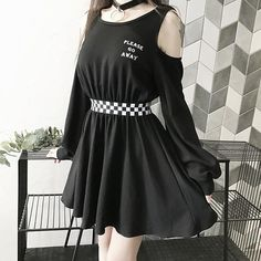 Gothic Cold Shoulder Lace Up Halter Mini Dress - Ein paar Outfits , Teen Fashion Outfits, Edgy Outfits, Cute Casual Outfits, Korean Outfits, Mode Outfits, Grunge Outfits, Girl Outfits, Grunge Dress, Black Outfit Grunge
