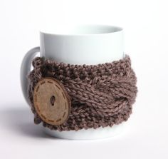 Knitted mug cozy tea cup cozy  coffee sleeve brown gray by shumshu, $10.90