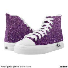 Purple glitter pattern printed shoes