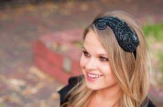 Black Art Deco Headband by Bethany Lorelle on by bethanylorelle, $62.00
