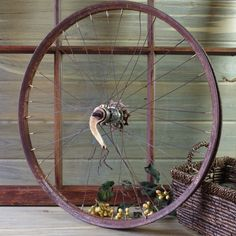 Old Rusted-Out Bike Wheel, Bicycle Wall Art, Urban Industrial Decor, Object Found Wall Art, Bike Art, Biking, Sports, Vintage Bike Wheel by DogFaceMetal on Etsy