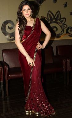 Zareen Khan looking ravishing in a maroon velvet & net saree by Shaliniboutique on Etsy