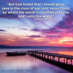 """But God forbid that I should glory, save in the cross of our Lord Jesus Christ, by whom the world is crucified unto me, and I* unto the world."" ‭‭Galatians‬ ‭6:14‬ ‭KJV‬‬ [*Gal 2:20 KJV]   ✞Grace and peace in Christ!"
