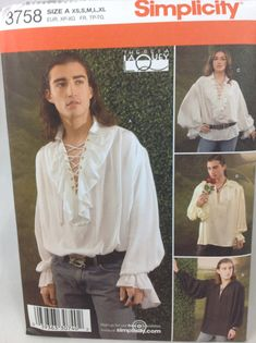 Simplicity 3758 Mens Historical Costume Pattern Romantic Poet, Pirate, Peasant, Puffy Shirt Rogue or Hero Costume UNCUT Adult Size XS to XL