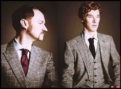 Don't mind me, just enjoying the idea of ginger Holmes brothers...and their awesome suits. (Mark Gatiss  Benedict Cumberbatch)