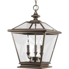 Progress Lighting Crestwood Antique Bronze Vintage Clear Glass Chandelier at Lowe's. Three-light foyer fixture with clear beveled glass panels in an antique bronze finish that highlights the essence of traditional gas lanterns with updated Vestibule, Gas Lights, Ceiling Lights, Room Lights, Sloped Ceiling, Cage, Foyer Lighting, Outdoor Lighting, House Lighting