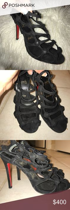Christian Louboutin black velvet heels 100% authentic. See photos for any wear. No trades- no bundles! Christian Louboutin Shoes Heels
